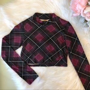 Rachel Pally Plaid Surplice Crop Top